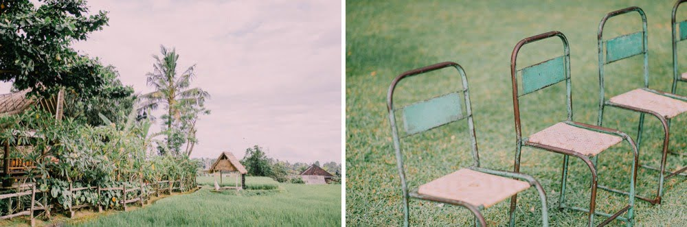 Wedding venue details at the edge of rice paddies.