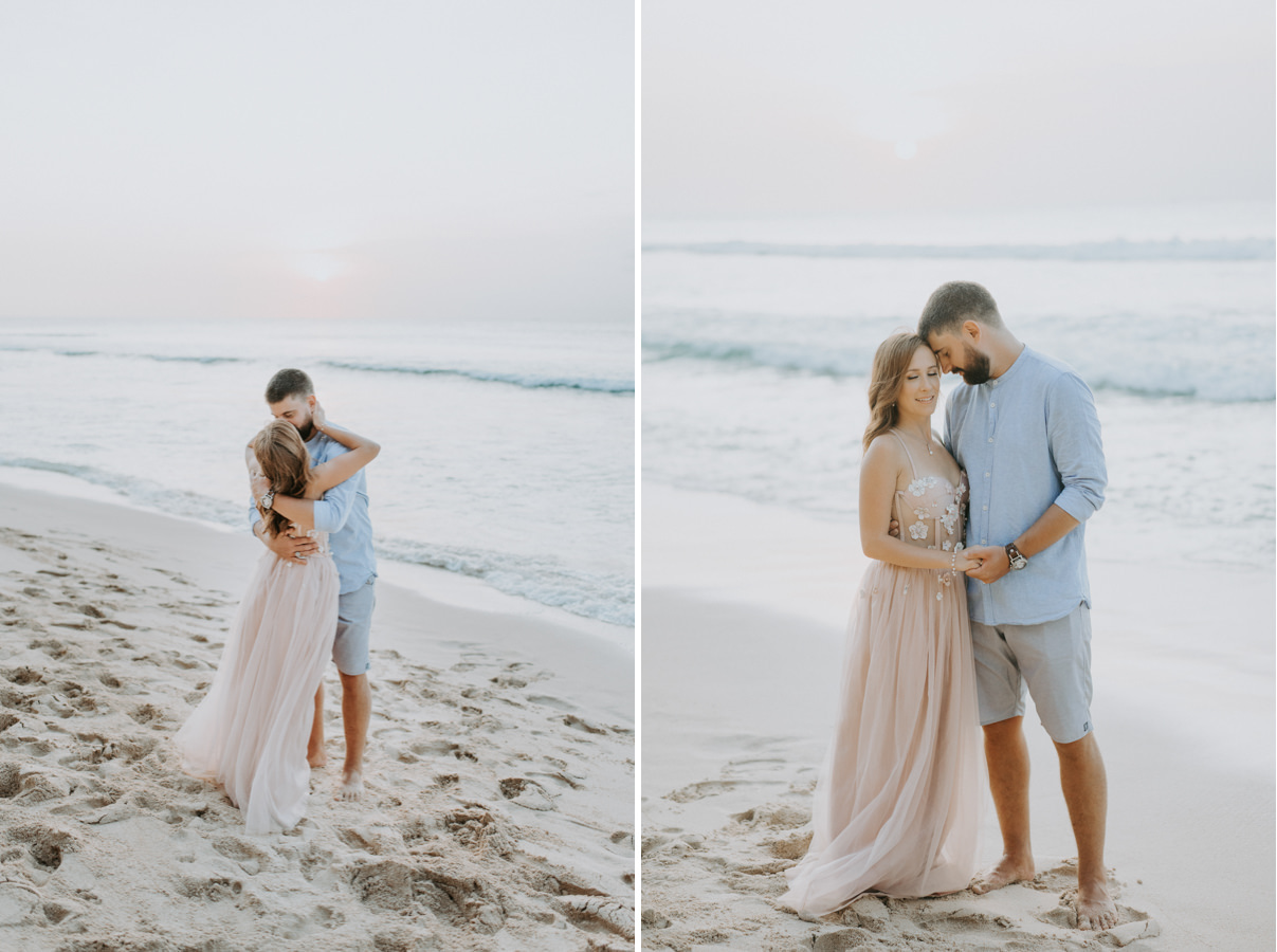 Ivan and Tamara kissing each other in front of Balangan Beach