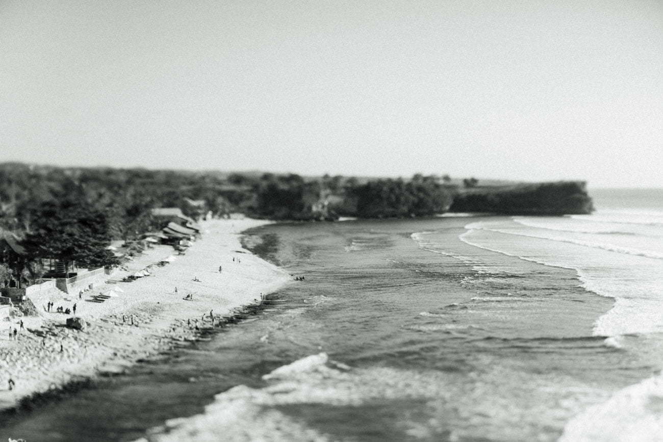 Balangan Beach from above in black and white