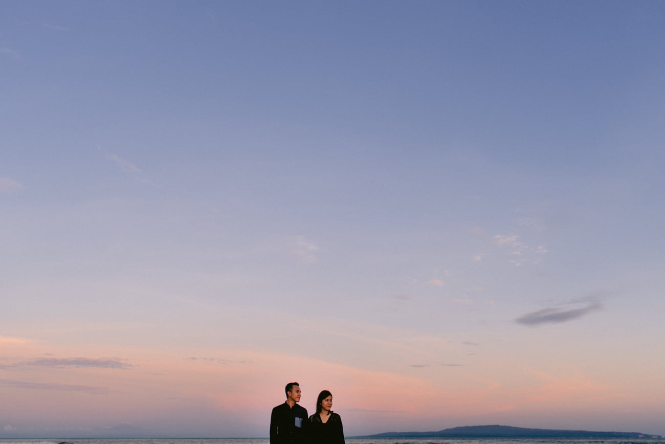 Couple anniversary video and photo during the sunset