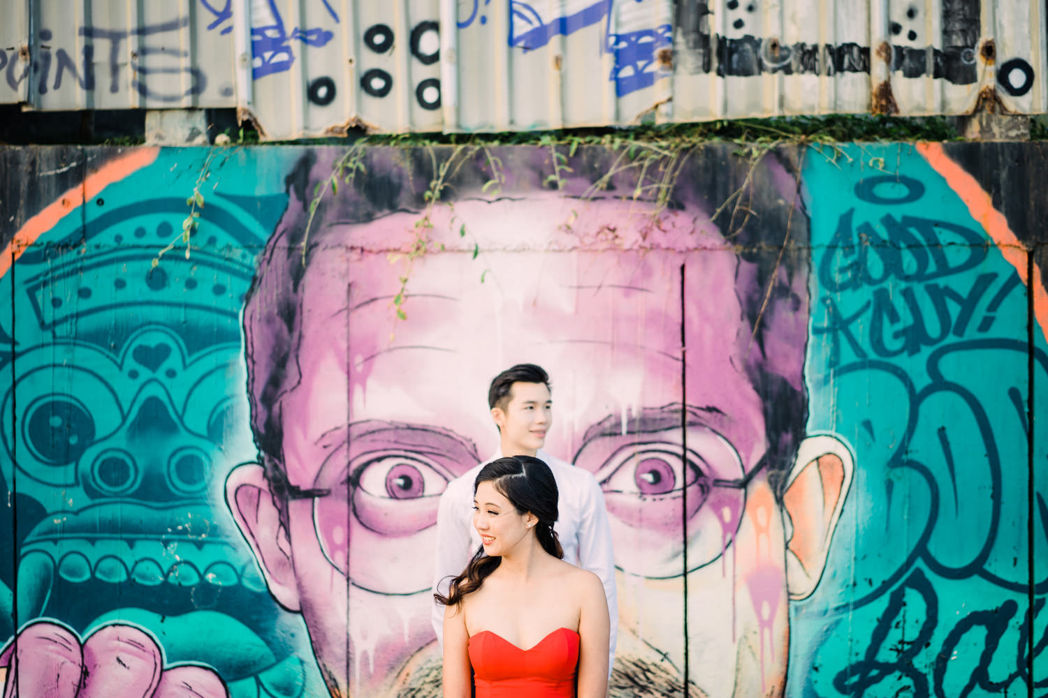 pre wedding portrait in Canggu Beach with street gravity as the background