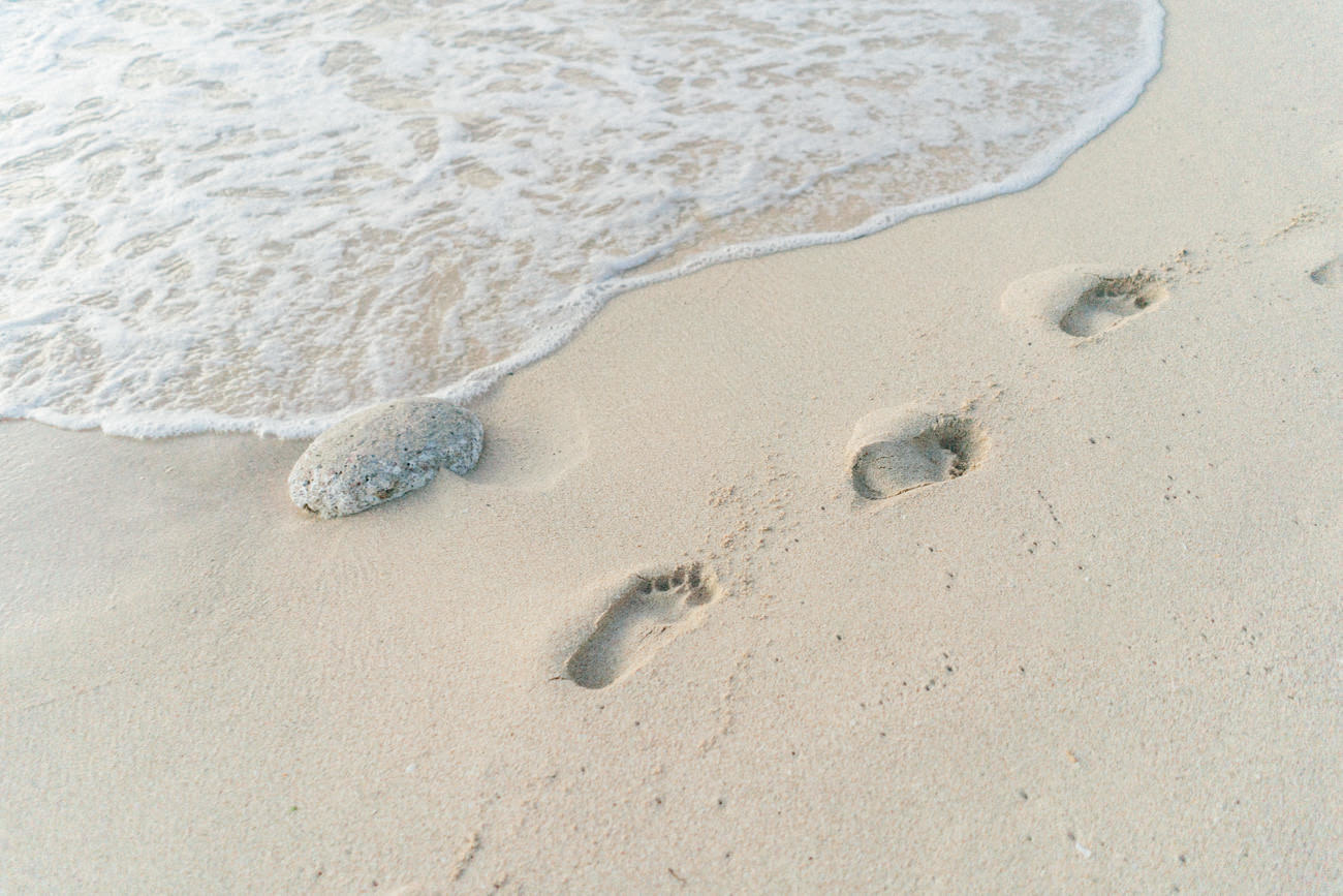 Footstep in the beach sand