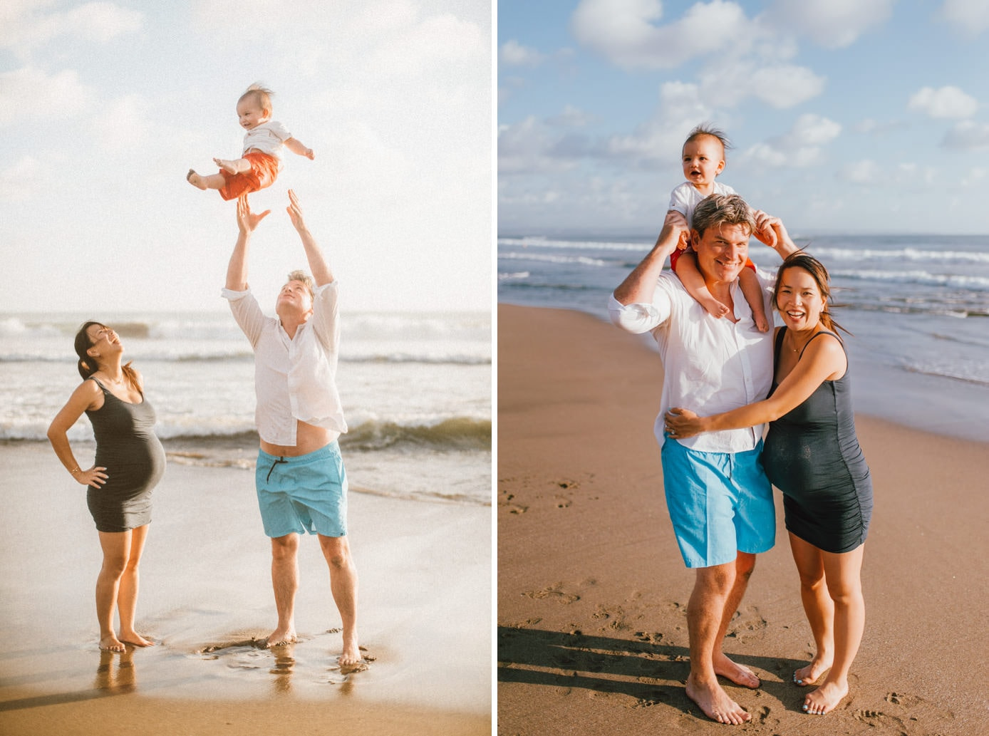 beach maternity photography of a happy family
