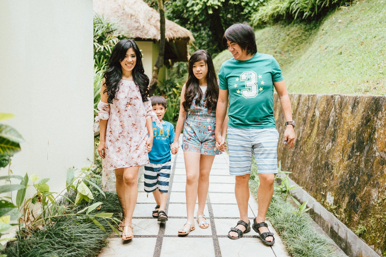 family portrait in hanging garden of bali