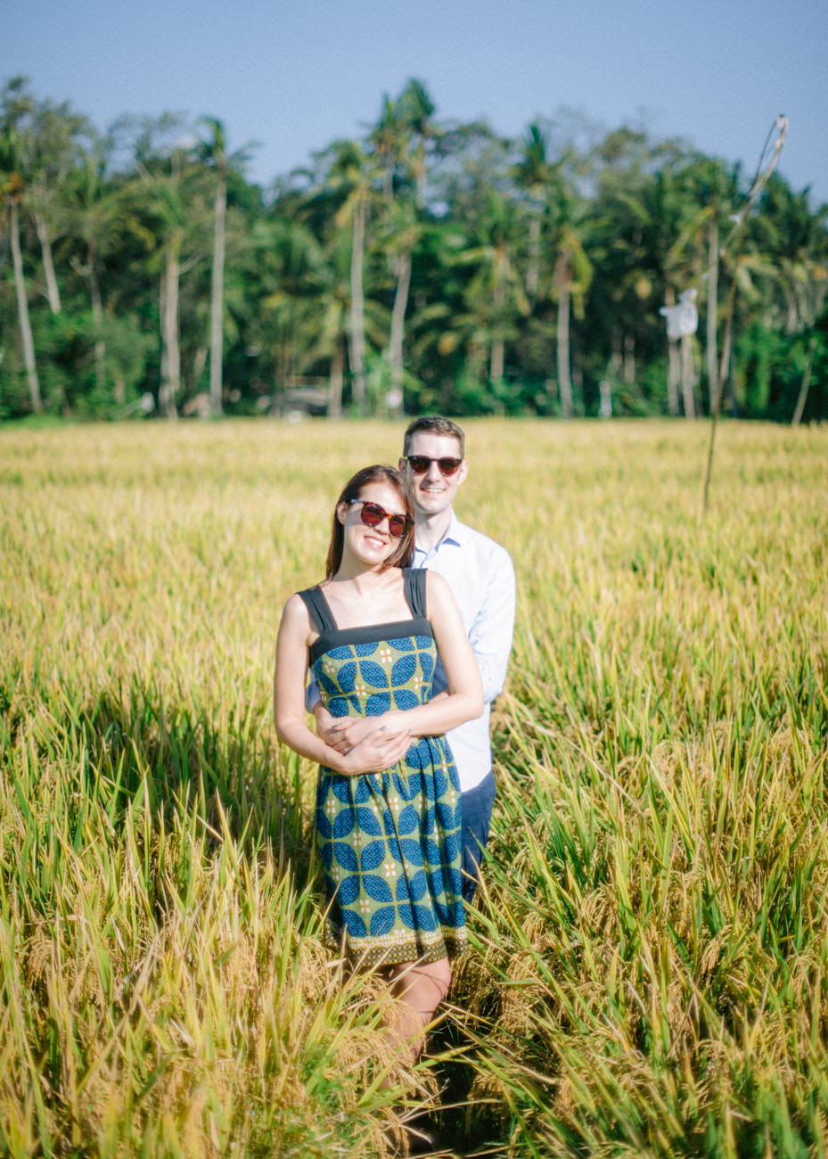 Engagement photos in rice field