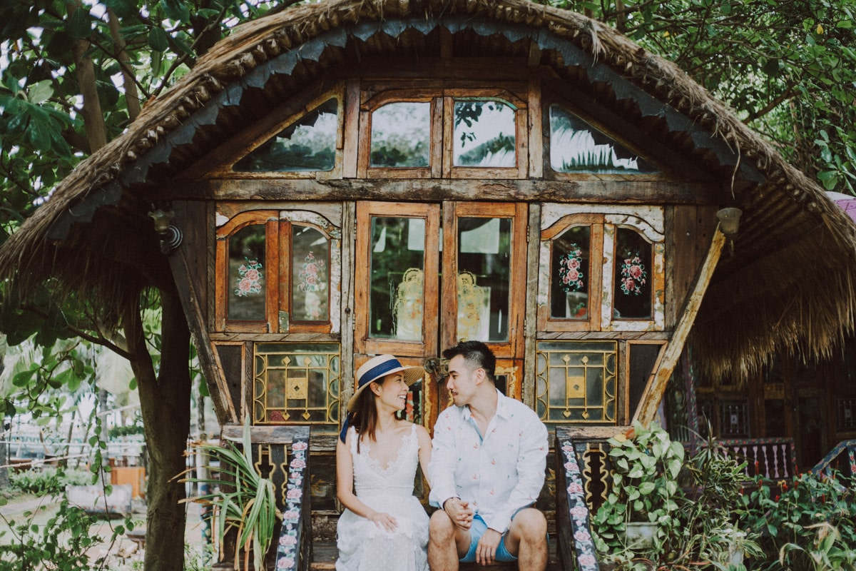 romantic couple in rustic house