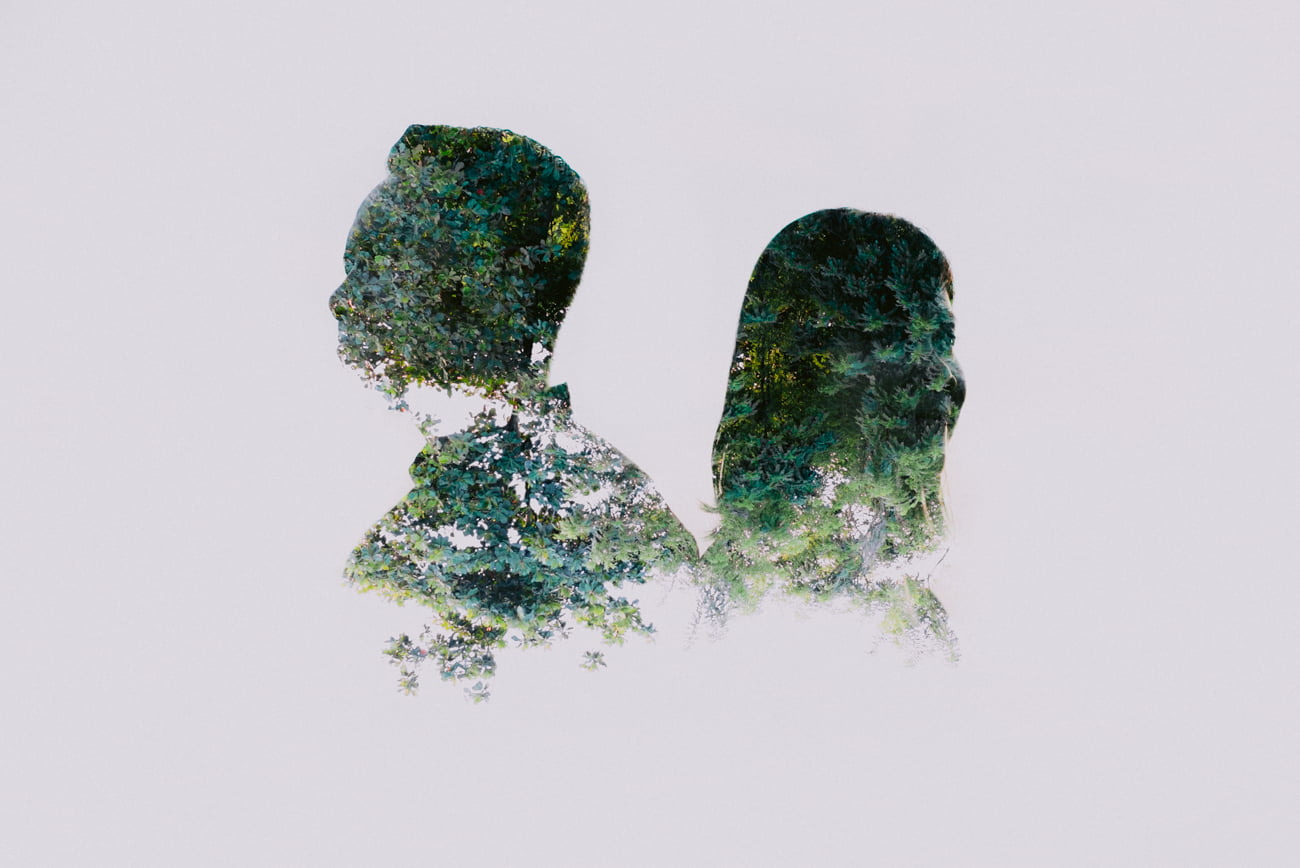 Couple anniversary video and photo in double exposure