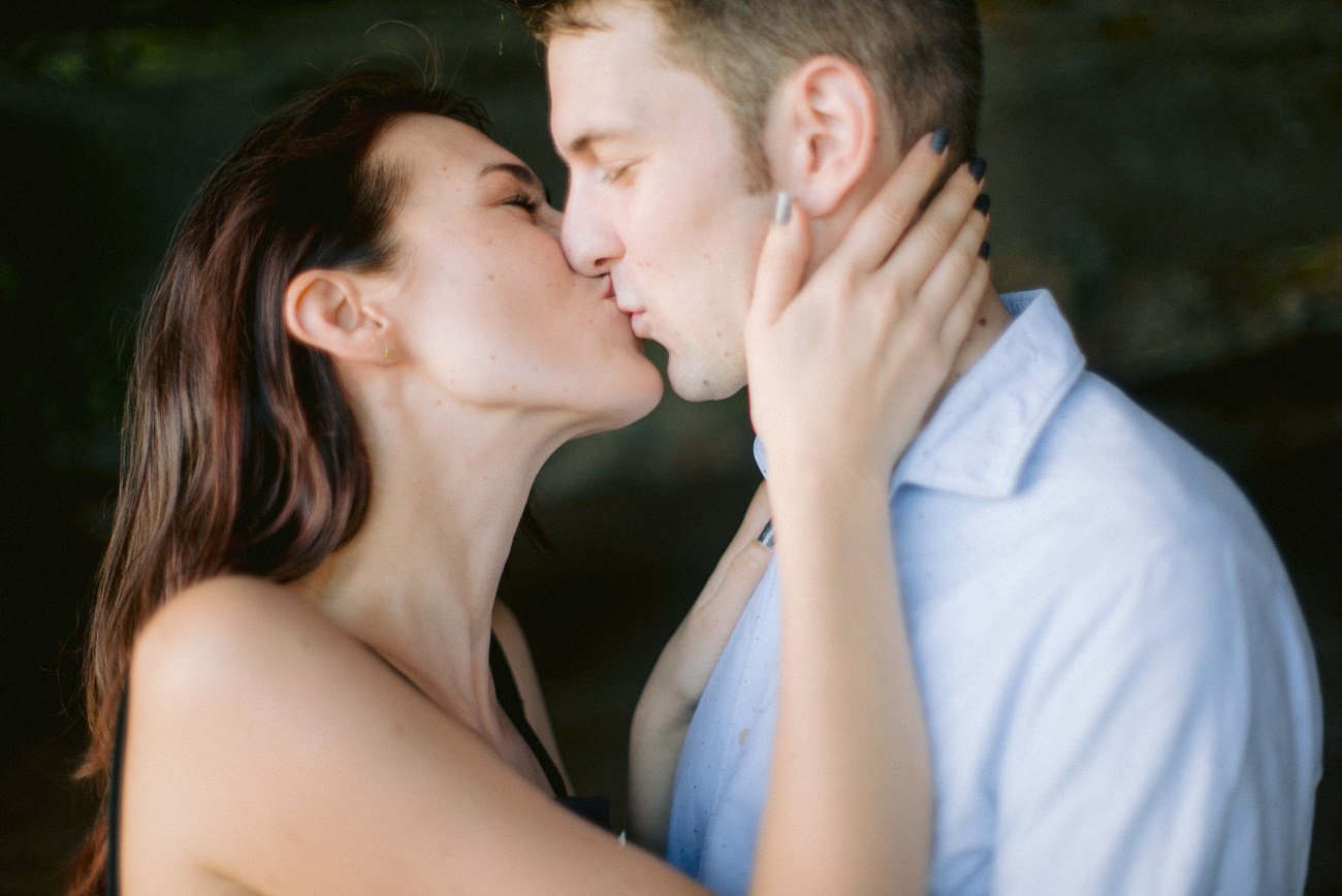 Engagement couple kissing each other
