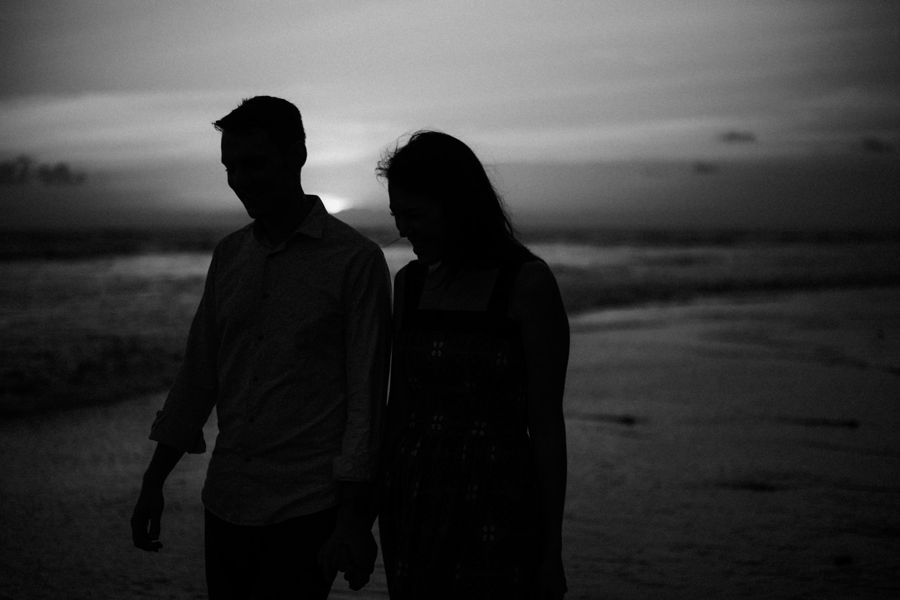 Silhouette of couple during the sunset